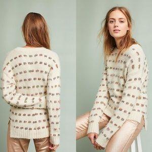 Anthropologie | Moth Metallic Check Sweater